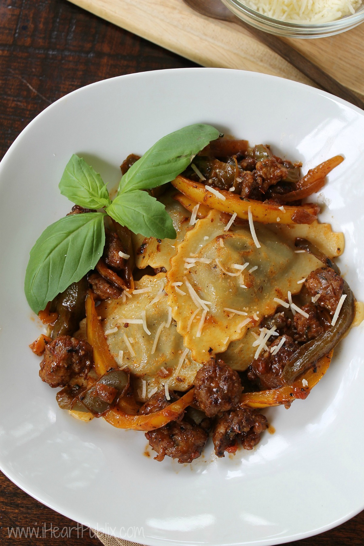 Mushroom Raviolo With Sausage & Peppers
