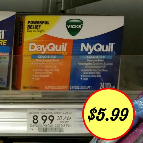image relating to Nyquil Coupons Printable identified as Refreshing Vicks DayQuil or NyQuil Coupon + Publix Coupon \u003d $5.99