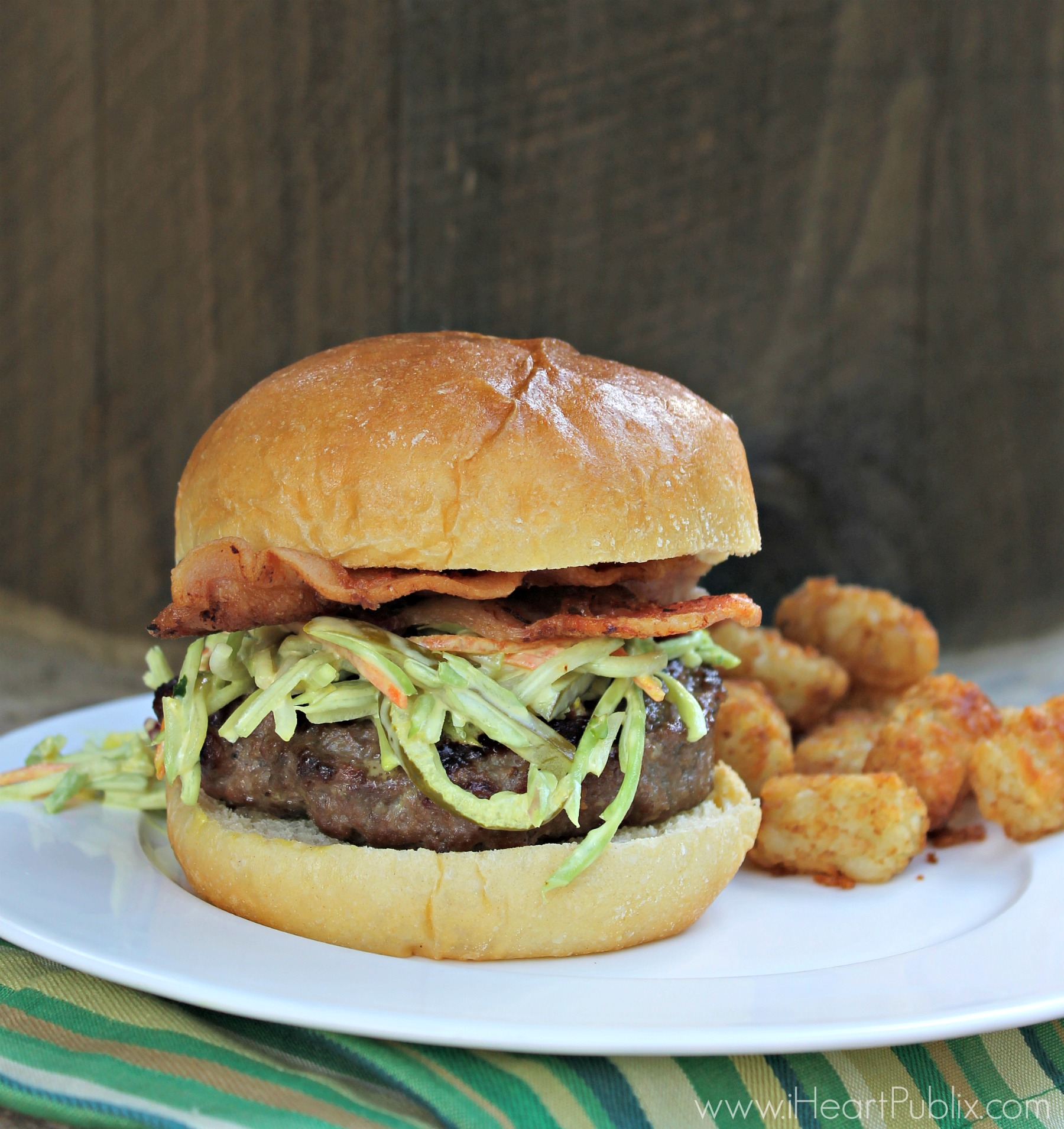 Best Ever Juicy Burger with Broccoli Pickle Slaw