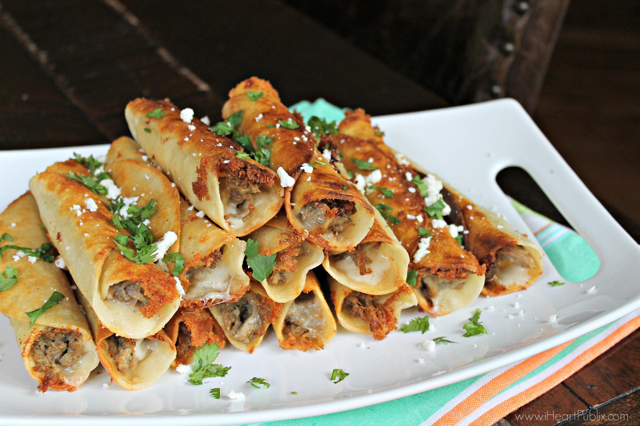 Cheesy Carnitas Taquitos