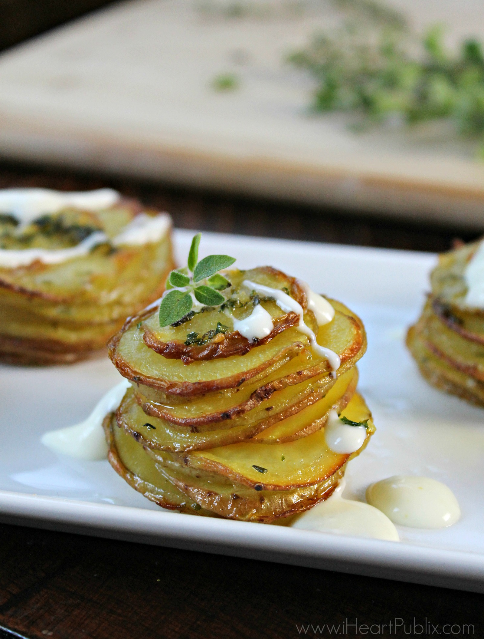 Herbed Potato Stacks With Sour Cream Sauce