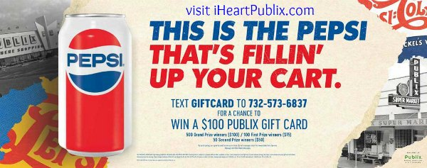 New Pepsi Sweepstakes - Win Publix Gift Cards