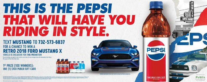 New Publix Sweepstakes - Win A 2018 Ford Mustang X