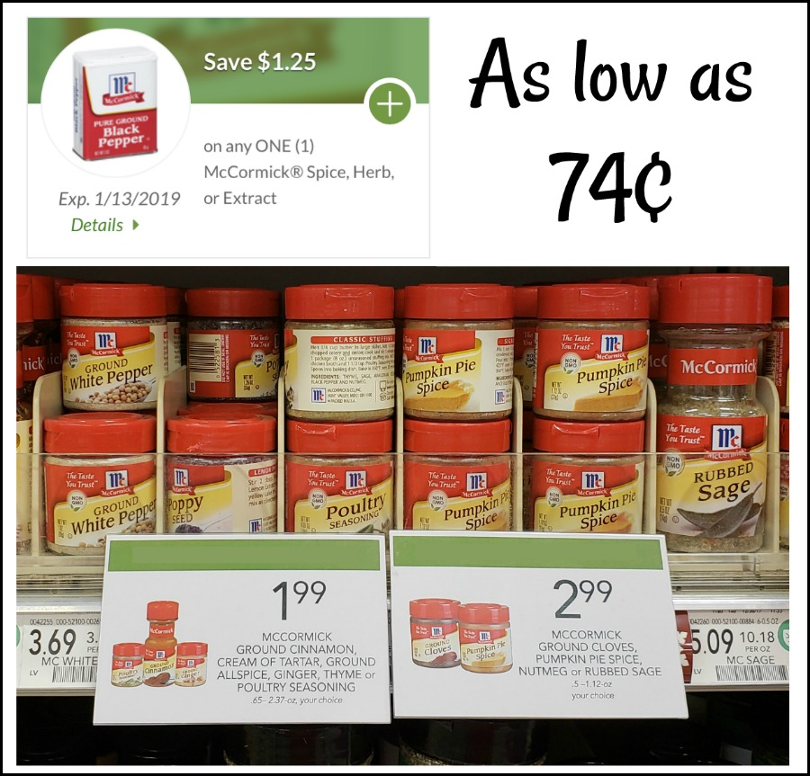 New McCormick Digital Coupon - Spices As Low As 74¢ At Publix