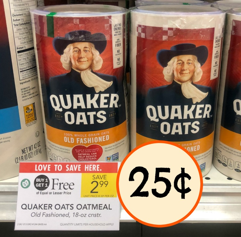 picture about Quaker Printable Coupons called Clean Quaker Discount coupons - Oatmeal Particularly 25¢ For each Canister!