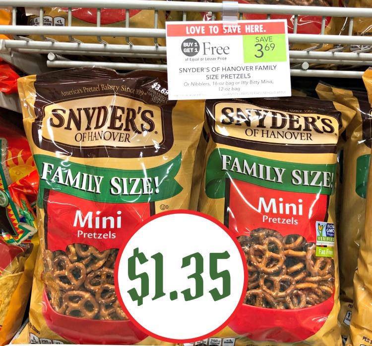 Snyder's of Hanover Family Size Pretzels Only $1 35 Per Bag