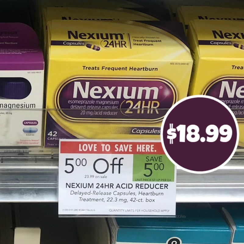 image about Nexium Printable Coupon called Fresh Nexium 24HR Coupon - 42 Depend Box Simply just $18.99 At Publix