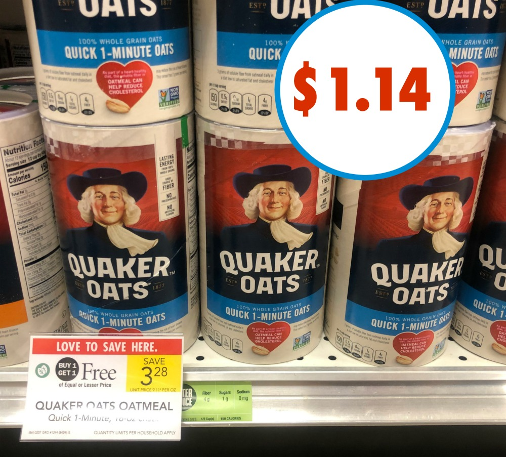 quaker oats sweepstakes 2019 quaker oats just 1 14 per canister this week at publix 4832