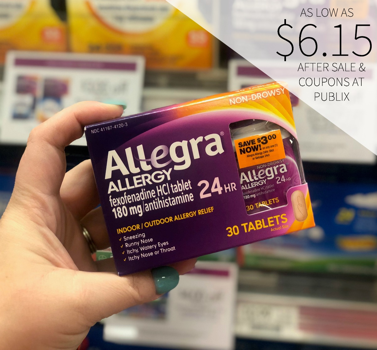 image regarding Allegra D Coupons Printable identified as Allegra Allergy Meds As Small As $6.15 At Publix (Preserve $12)