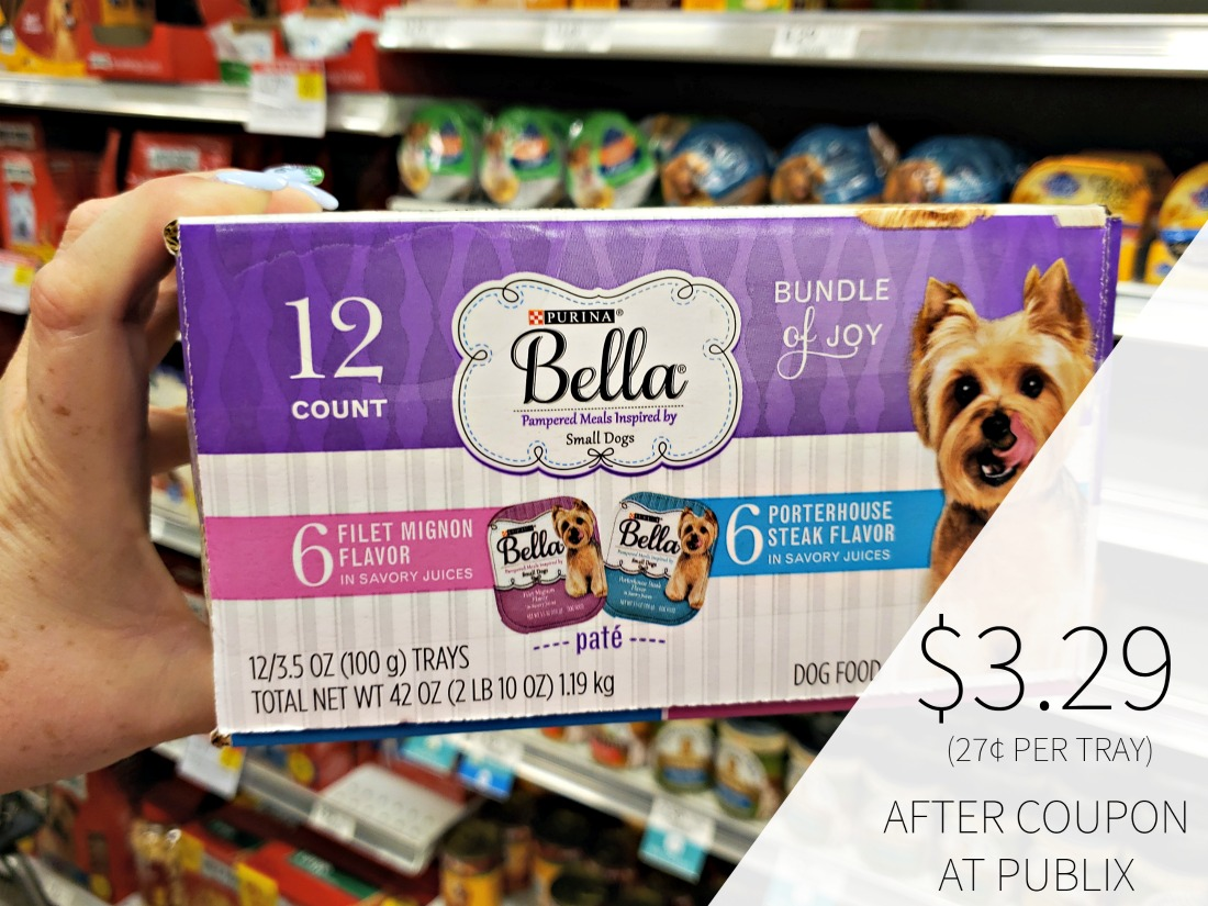 Purina Bella Wet Dog Food Coupons - 12pk As Low As $3.29 (27¢ Per Tray) on I Heart Publix