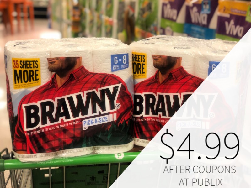 graphic regarding Brawny Printable Coupons titled Brawny Paper Towels Just $4.99 At Publix (Just about 50 % Value)