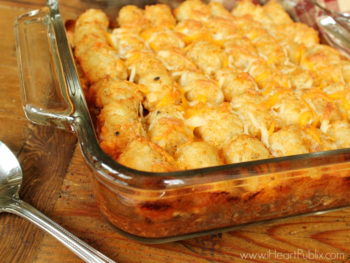 Tater Tot Chili Cheese Dog Casserole - Super Meal To Go With The Sales At Publix on I Heart Publix
