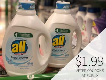 Big Bottles Of All Laundry Detergent Just $1.99 At Publix (Approximately 4¢ Per Load) on I Heart Publix 1