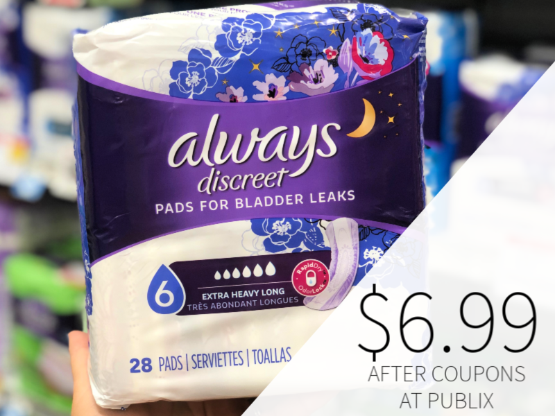Always Discreet Pads Only $6 99 At Publix - Half Price!