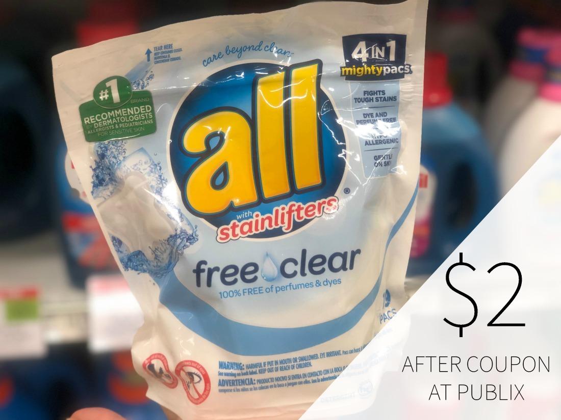 All Detergent Coupon For Publix BOGO - As Low As $2 on I Heart Publix