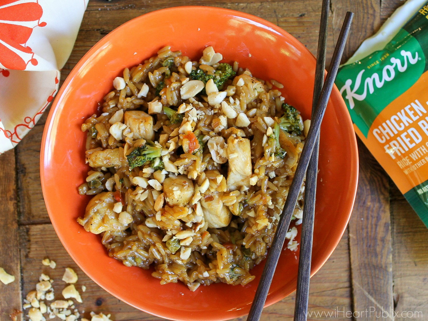 Asian Chicken Fried Rice with Peanuts - Tasty Meal With NEW Knorr Ready To Heat Rice on I Heart Publix 1