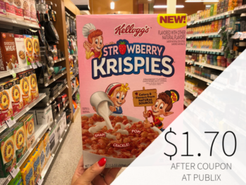 New Kellogg's Strawberry Krispies Cereal Coupon - on I Heart Publix 1
