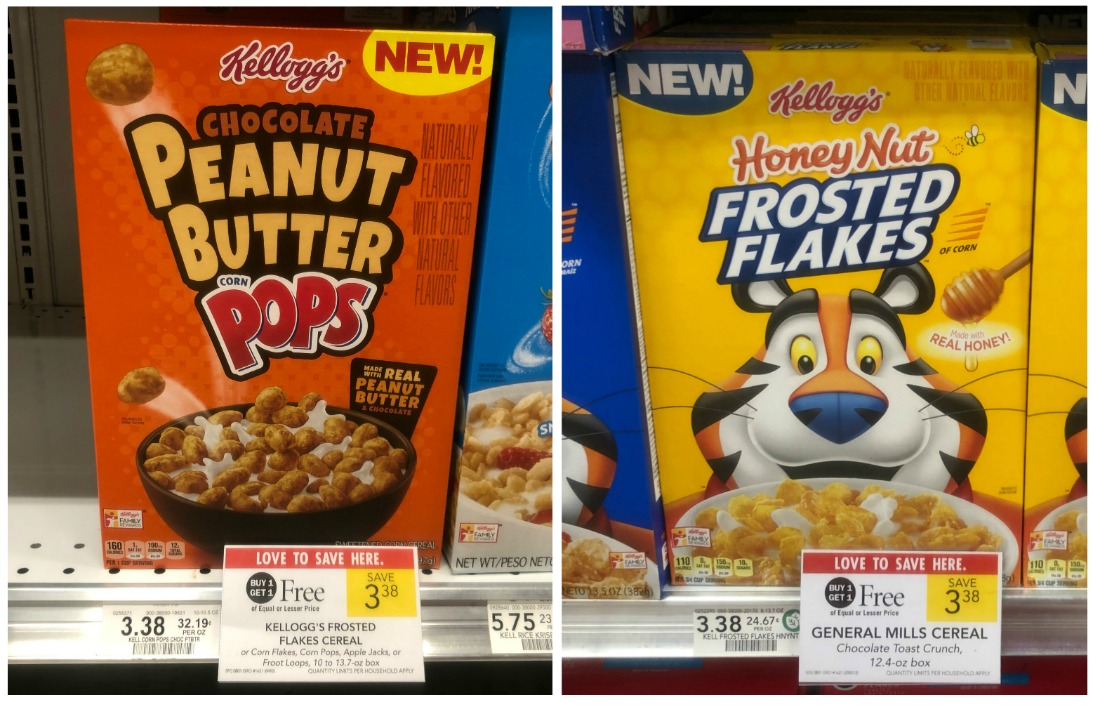 New Kellogg's Honey Nut Frosted Flakes & Chocolate Peanut Butter Corn Pops Coupon - Just $1.19 on I Heart Publix