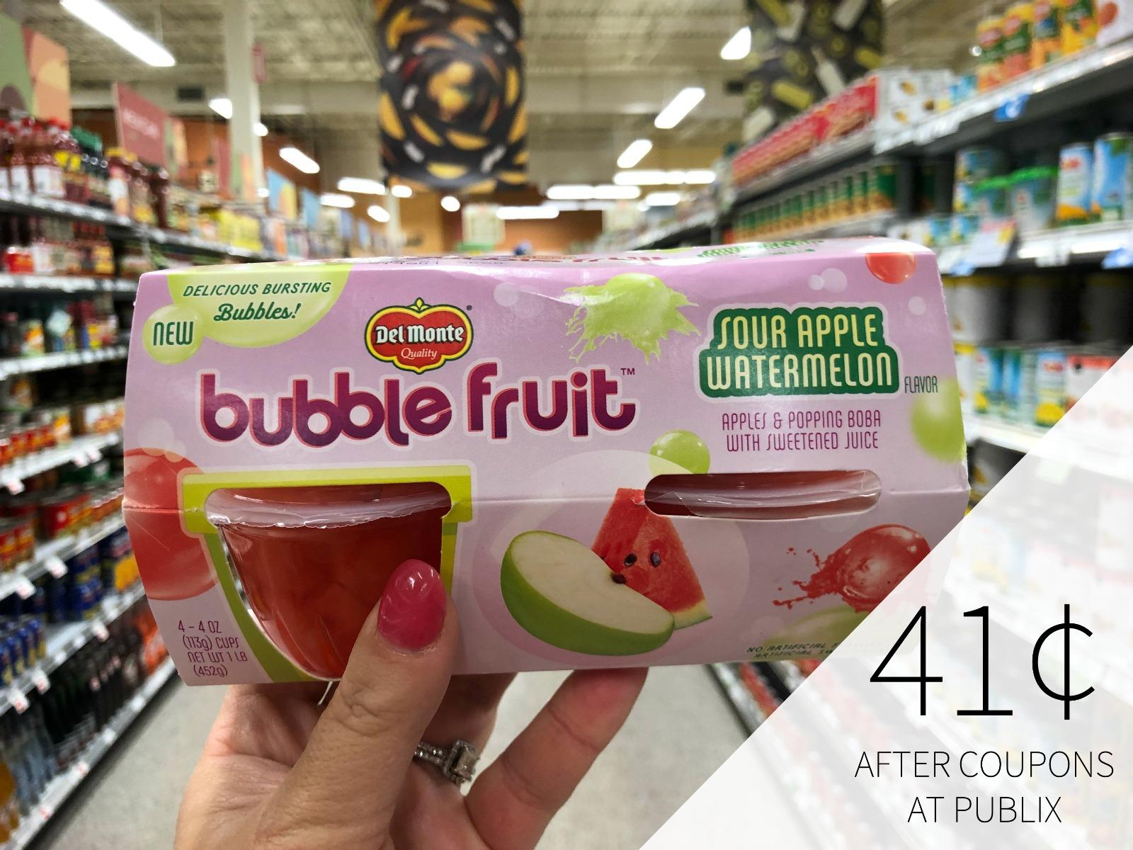 Del Monte Fruit Cups Just 82¢ - Plus FREE Bubble Fruit on I Heart Publix