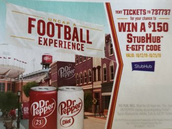 Dr. Pepper Football Experience Sweepstakes - Text To Win $150 StubHub Gift Code on I Heart Publix