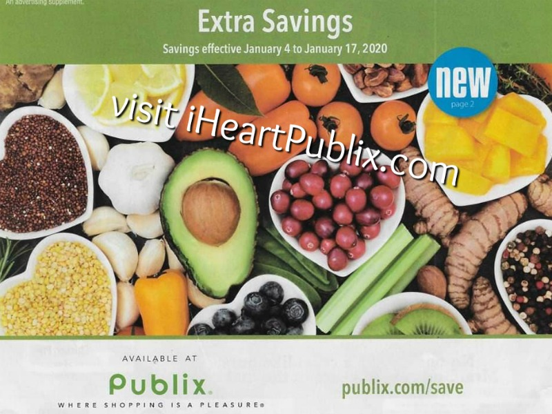 """Publix Grocery Advantage Buy Flyer – """"Extra Savings"""" Valid 1/4 to 1/17 on I Heart Publix"""