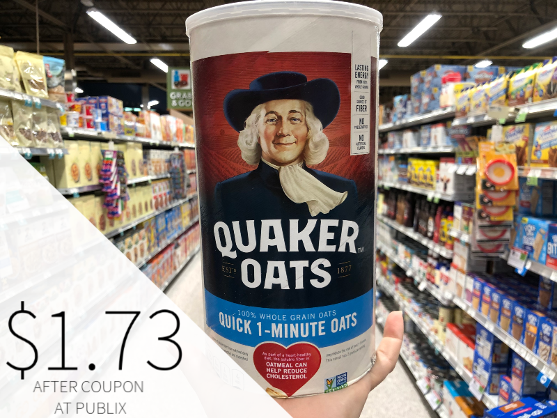 Big Canisters Of Quaker Oats Only $1.80 At Publix on I Heart Publix 2