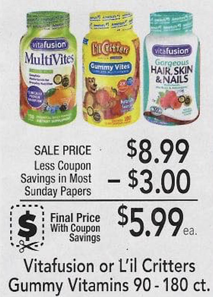 New Vitafusion or L'il Critters Product Coupon - $5.99 At Publix on I Heart Publix 1