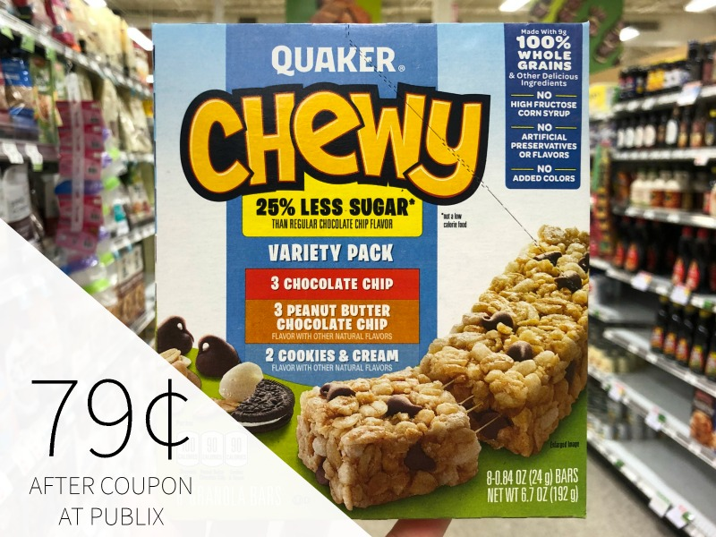 Quaker Chewy Bars Just 29¢ Per Box At Publix on I Heart Publix