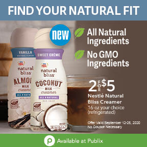 Look For natural bliss® Sweet Crème Coconut Milk & natural bliss® Vanilla Almond Milk On Sale At Publix on I Heart Publix 1