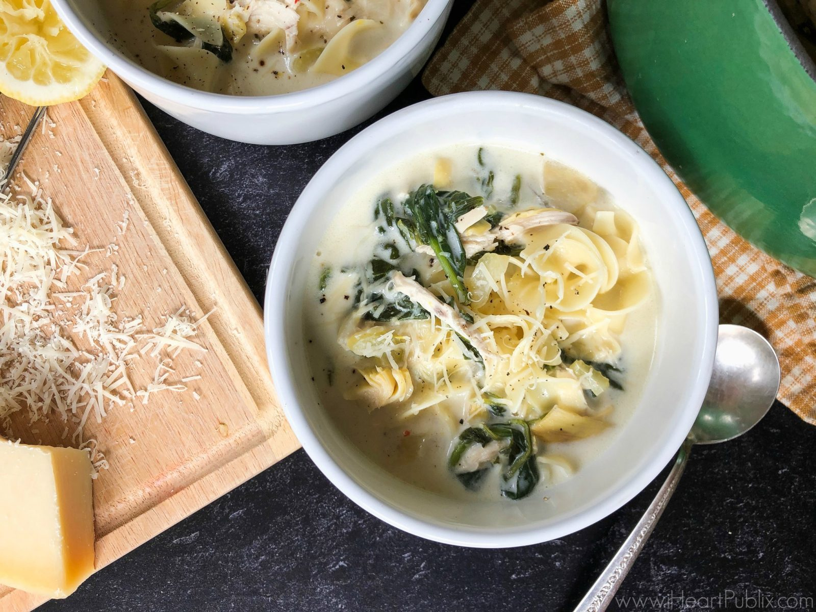 Chicken Spinach and Artichoke Noodle Soup Bowl on I Heart Publix