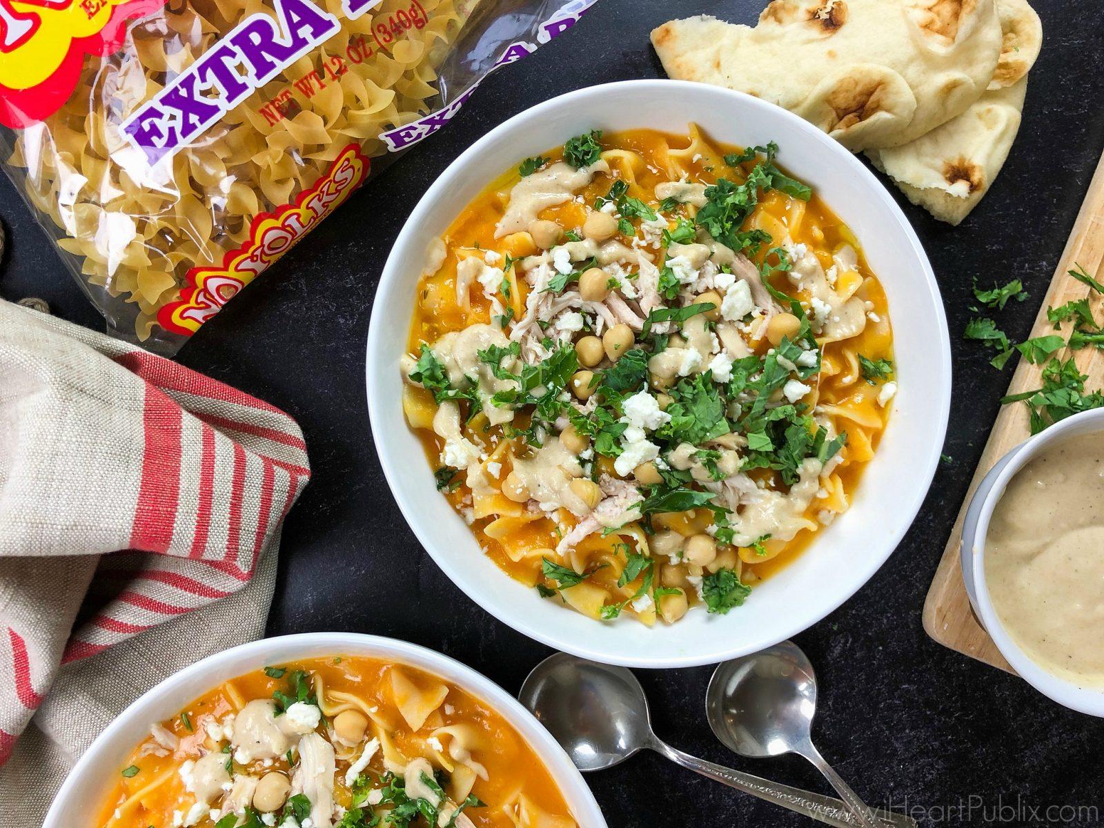 Zesty Lemon Sweet Potato and Noodle Soup Bowl on I Heart Publix