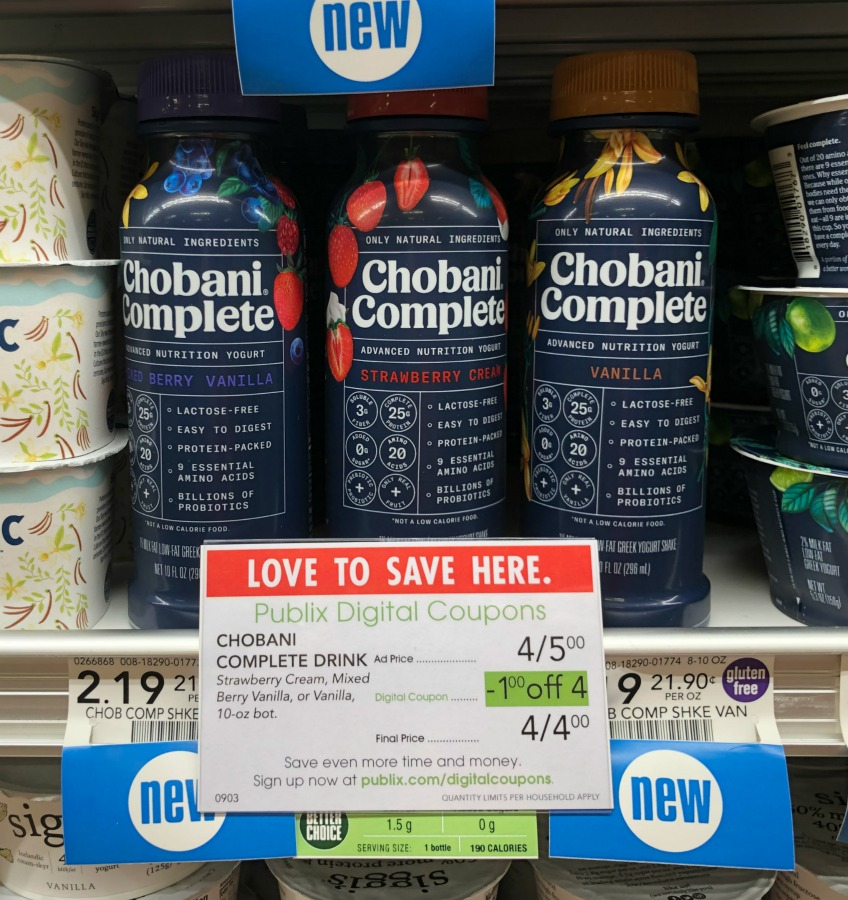 Chobani Complete Drinks Just 50¢ At Publix on I Heart Publix