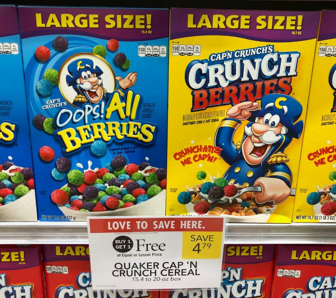 Quaker Cap'N Crunch Cereal Just $1.90 At Publix on I Heart Publix