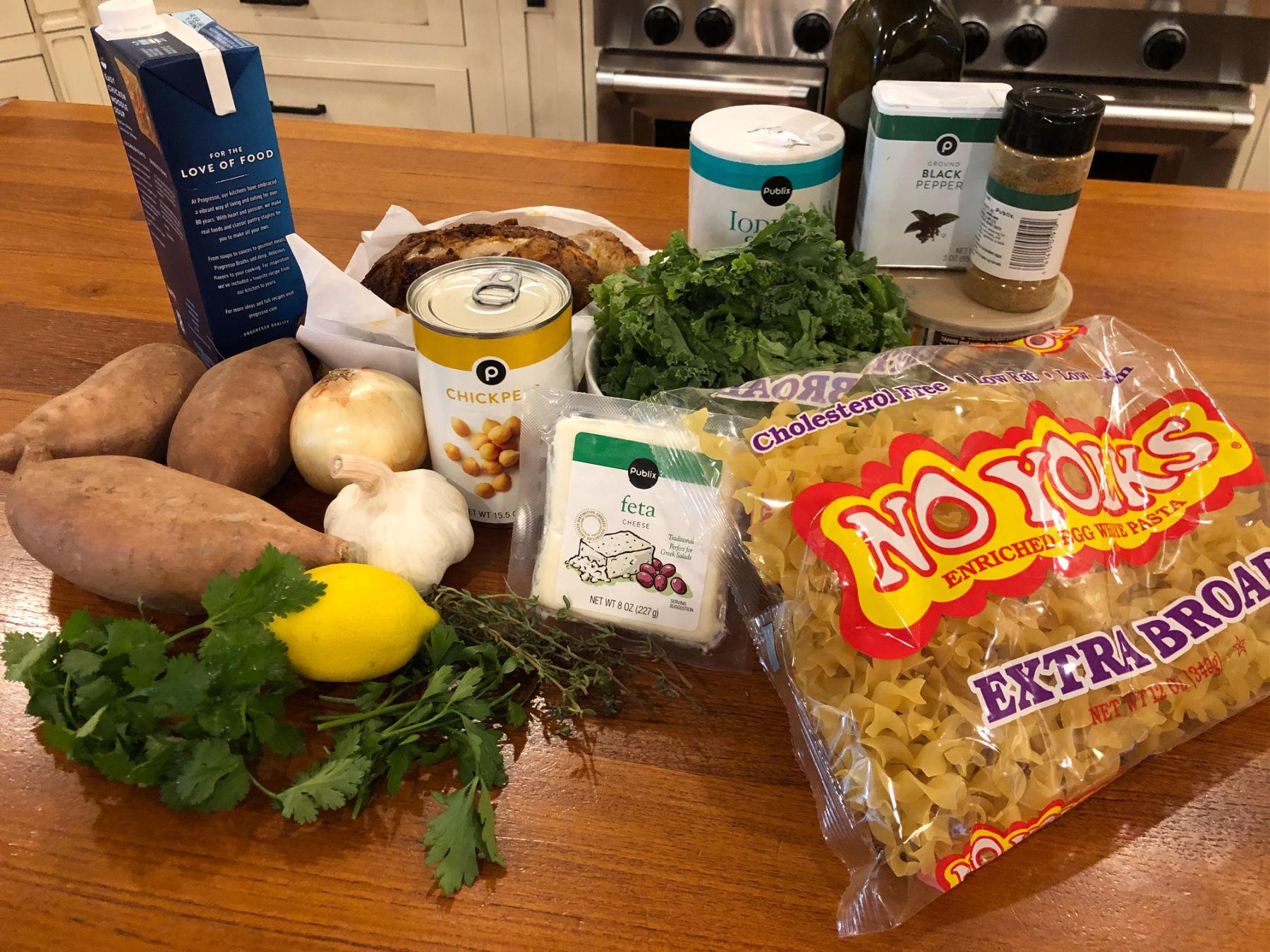 Zesty Lemon Sweet Potato and Noodle Soup Bowl on I Heart Publix 1