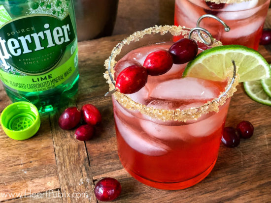 Try This Cranberry Lime Sparkle At Your Holiday Celebration - Look For PERRIER® On Sale Now At Publix on I Heart Publix