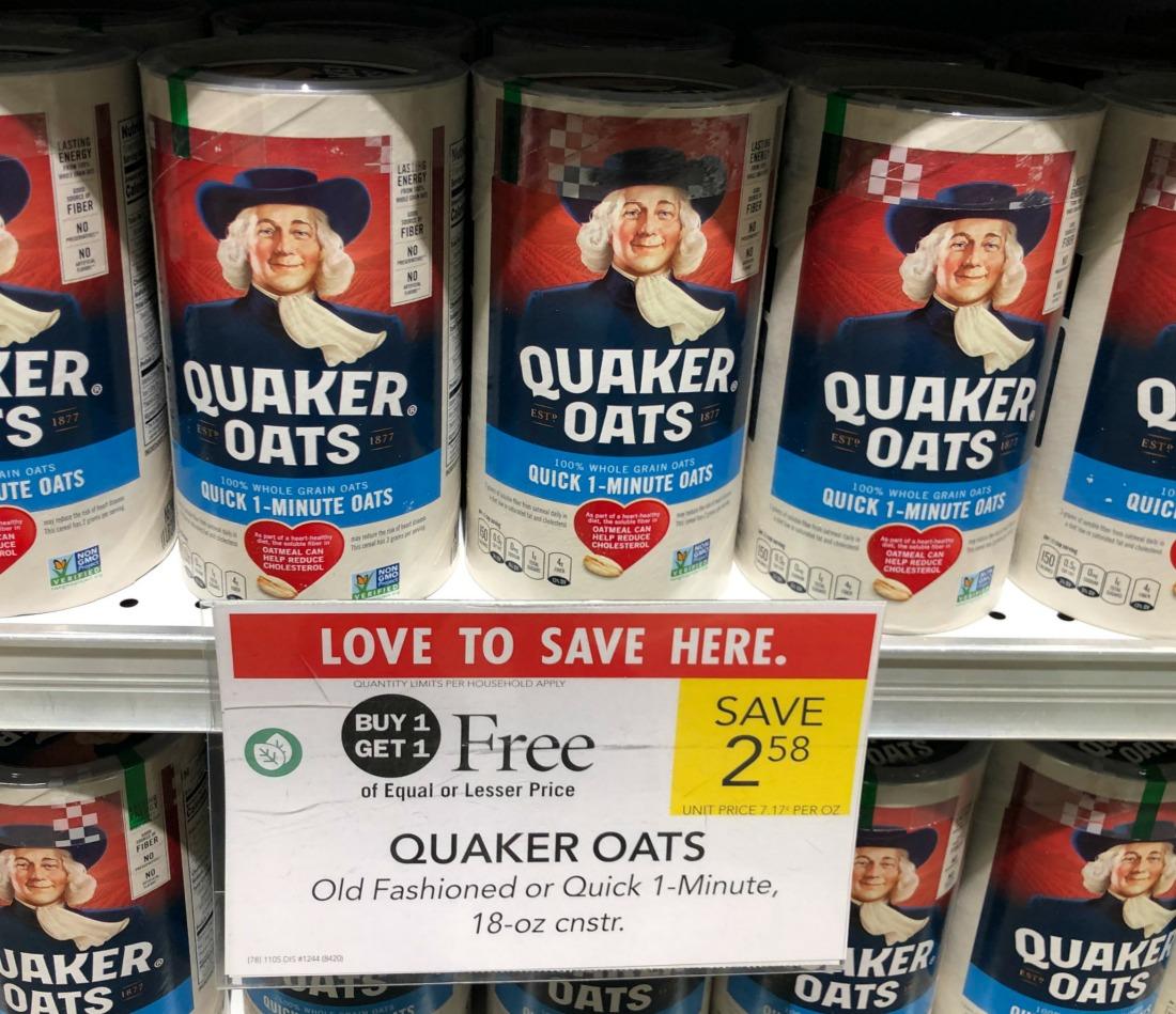 Quaker Oats Just 79¢ Per Canister At Publix on I Heart Publix
