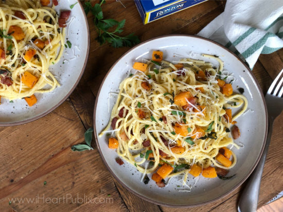 Spaghetti Carbonara with Bacon, Butternut Squash and Sage on I Heart Publix