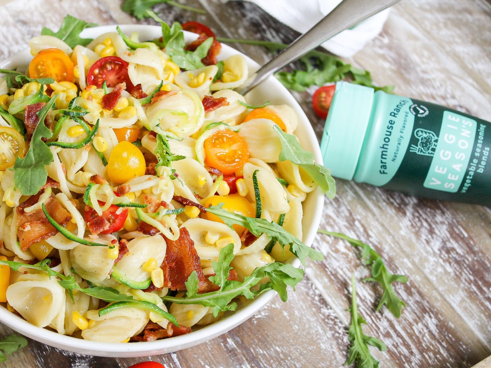 Make Mealtime Enjoyable With Veggie Season's - Try My Ranch Bacon Pasta Salad With Zucchini & Corn on I Heart Publix 4