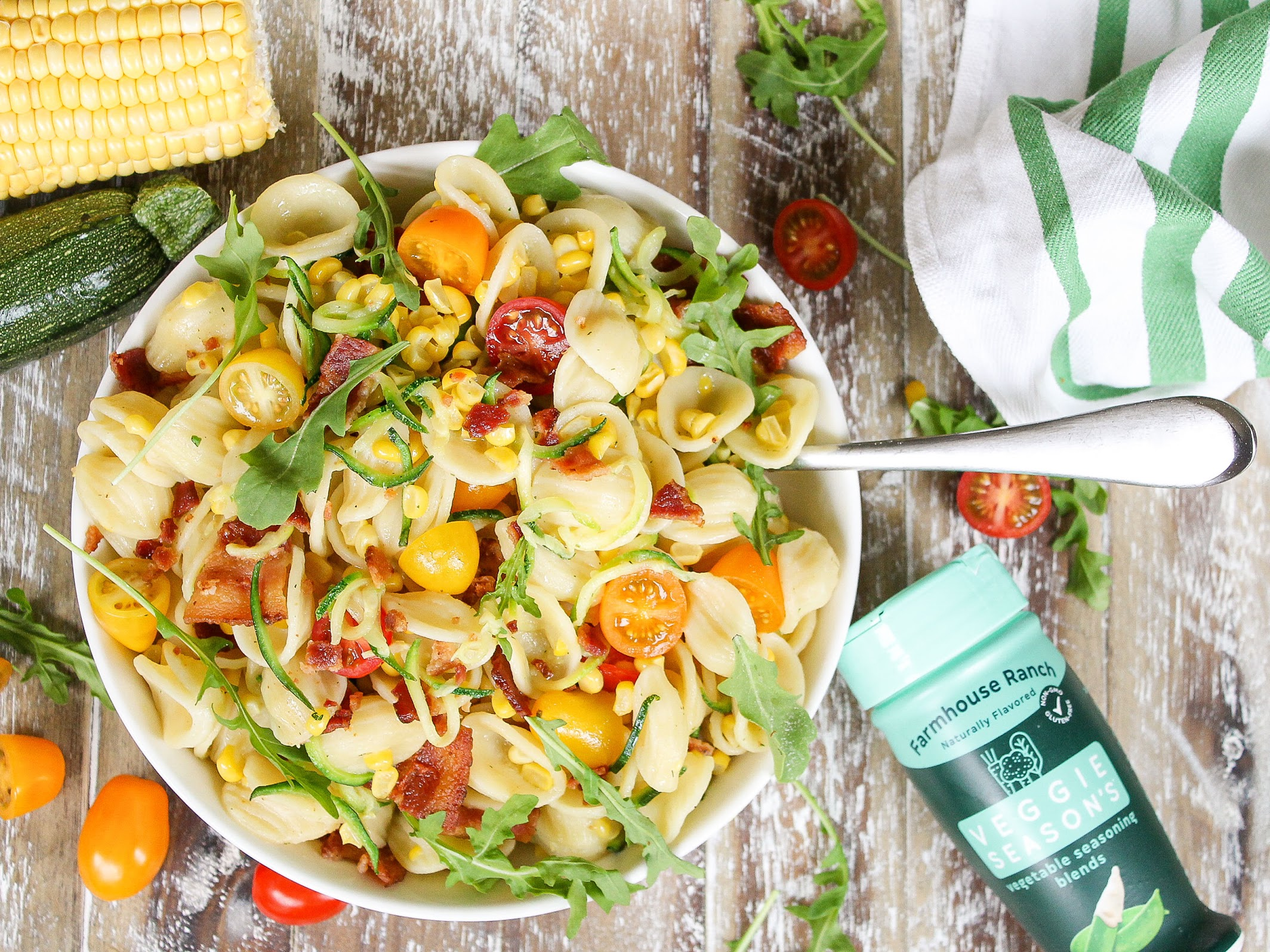 Make Mealtime Enjoyable With Veggie Season's - Try My Ranch Bacon Pasta Salad With Zucchini & Corn on I Heart Publix 5