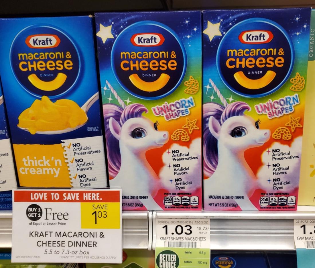 Kraft Macaroni & Cheese Unicorn Shapes Just 27¢ Per Box on I Heart Publix