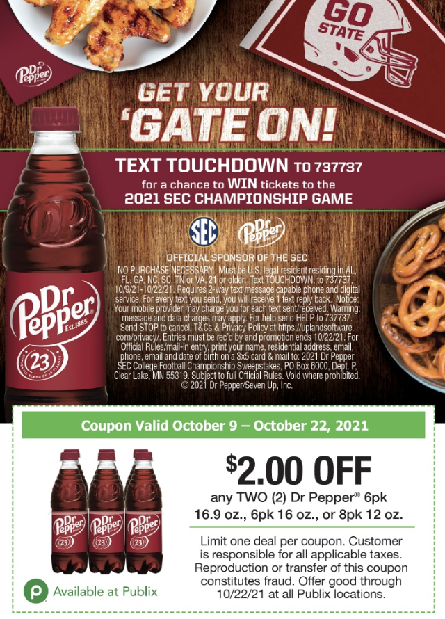 Dr Pepper Sweepstakes - Enter To Win A Trip To The 2021 SEC Championship Game on I Heart Publix 1